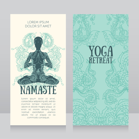 aura energy: Two banners for yoga retreat or yoga studio with beautiful fantasy ornament, vector illustration Illustration