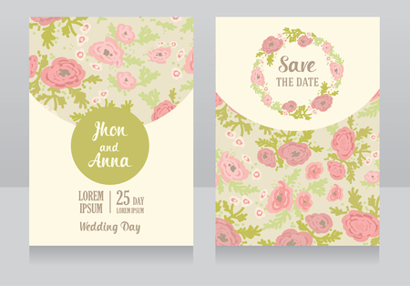 provence: Two floral wedding cards, illustration