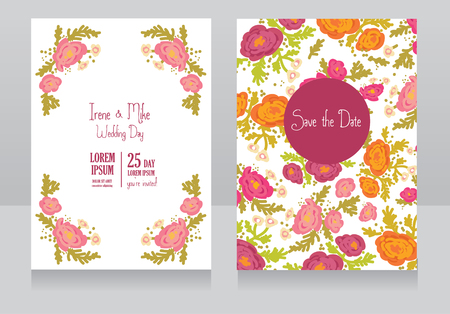 provence: Two floral wedding cards, vector illustration Illustration