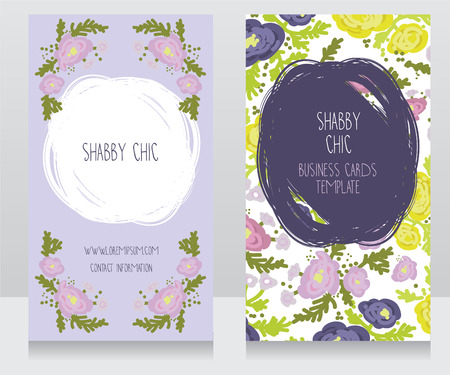 provence: Two floral colorful cards, can be used as business cards for country shop or as badge for wedding seremony, vector illustration Illustration