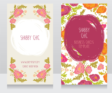Zwei Bunte Mit Blumenkarten Können Als Visitenkarten Für