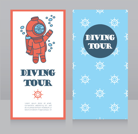 cards for diving tour with vintage diver, can be used as invitation to diving camp, retro style vector illustration