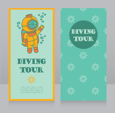 cards for diving tour with vintage diver, can be used as invitation to diving camp, retro style vector illustration Stok Fotoğraf - 87285192