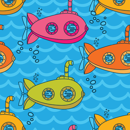Seamless pattern with cute vintage submarines, vector illustration