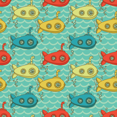 Seamless pattern with cute vintage submarines, vector illustration Stok Fotoğraf - 87285197