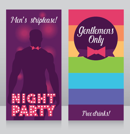 Banners for gay party, Gentelmans only night party illustration