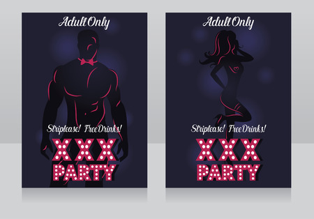 Two cards for xxx party with man's and woman's silhouette, vector illustration