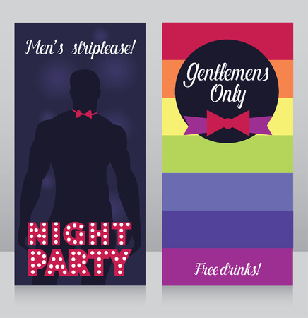 Banners for gay party, Gentlemans only night party illustration