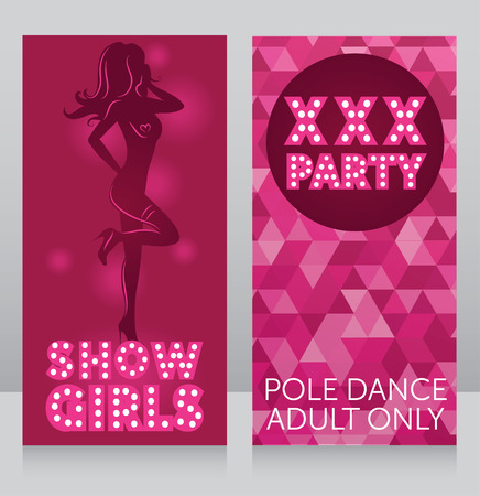 Invitation template for xxx party with womans silhouette, vector illustration Ilustrace