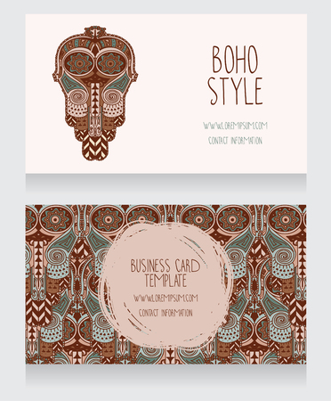 african business: Set of two cards for ethnic style party invitation.