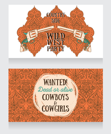 Invitation for wild west party, in country style, illustration.