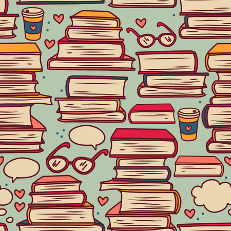 seamless pattern with stacks of books and hearts, vector illustration