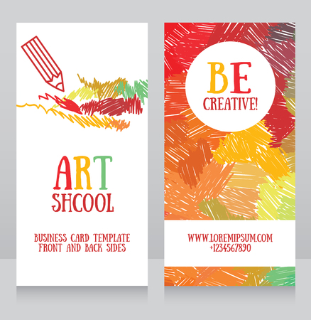 business cards template for art school, can be used for art therapy banners or as business cards for graphic designer, vector illustration Ilustração