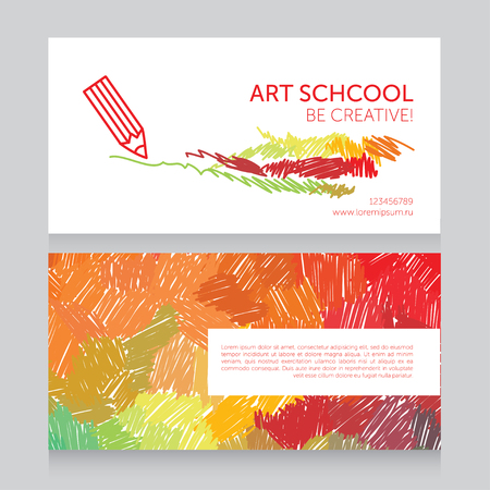 business cards template for art school, can be used for art therapy banners or as business cards for graphic designer, vector illustration Banco de Imagens - 87659642