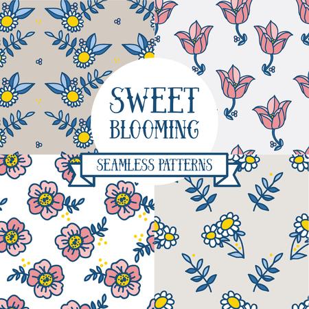 Set of four floral seamless patterns, vector illustration.