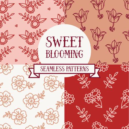 Set of four floral seamless patterns, vector illustration. Vektorové ilustrace