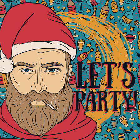 party poster with bad santa, vector illustration Illustration