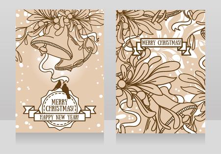 Greeting card with Christmas bells and mistletoe illustration. Illustration