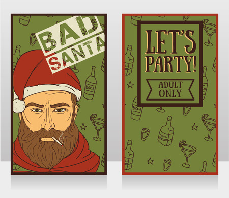 Banners for bad santa party, vector illustration
