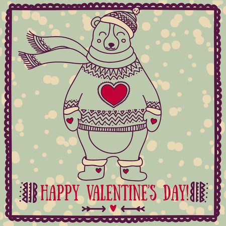 cute card for valentines day with smiling bear, vector illustration