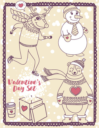 set of cute valentine's day illustrations: deer, snowman and bear, vector collection