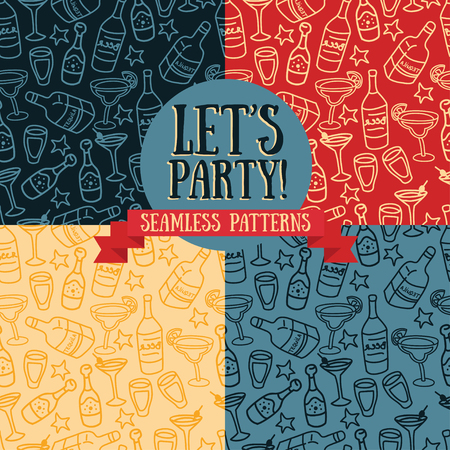 set of seamless patterns with cocktails and bottles of alcohol, cartoon style, vector illustration
