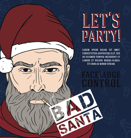 Party poster with bad santa, vector illustration