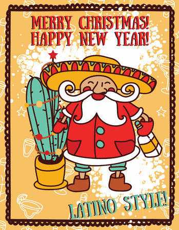 Party poster for christmas with cute Santa in mexican style.