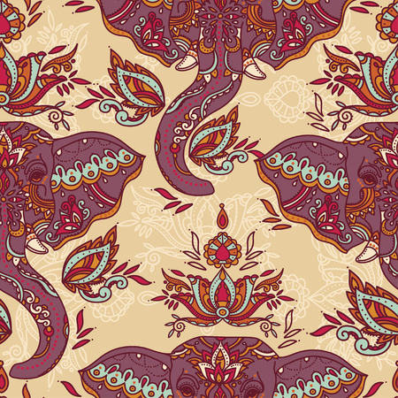 Seamless pattern with indian elephants and beautiful paisley ornament, vector illustration