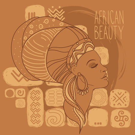 Beautiful African American woman on ethnic background, vector illustration