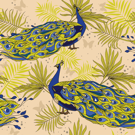seamless background with beautiful peacocks and palm leaves Illustration