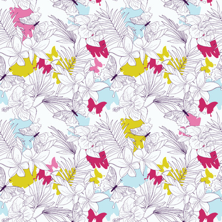 Seamless pattern with tropical flowers, palm leaves and butterflies, vector illustration