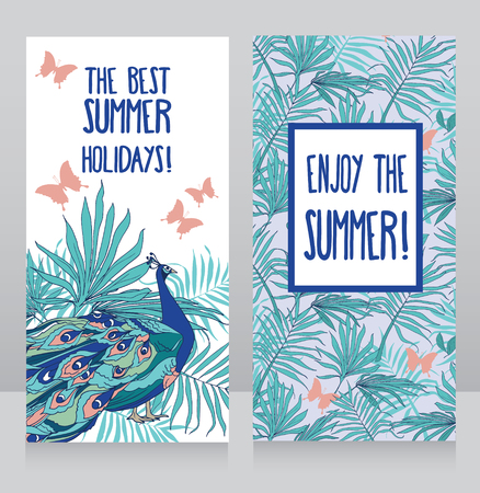 Cards for summer party with tropical decor and peacock, vector illustration
