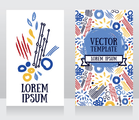 Cards with abstract hand drawn design, can be used as flyers for art gallery, vector illustration Illustration