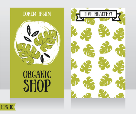 Cards with hand drawn monstera leaves, can be used as business cards for organic shop or as banners ecology company, vector illustration