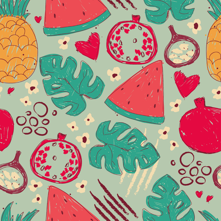 Seamless pattern with hand drawn exotic fruits and tropical leafs, vector illustration