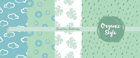 set of hand drawn seamless backgrounds in organic style, vector illustration