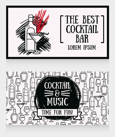 Banners for cocktail bar. Can be used as template for party invitation, vector illustration. Ilustração