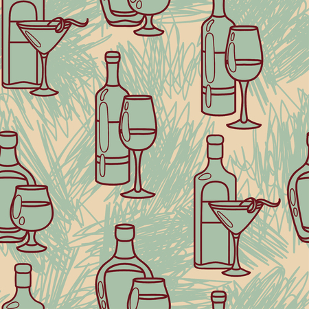 Seamless pattern with alcohol bottles and strokes, vector illustration