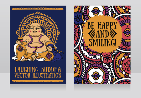 Greeting cards with Laughing Buddha, traditional asian Feng Shui talisman Hotei or Budai for happiness, vector illustration