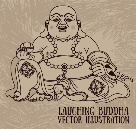 Illustration of the laughing Buddha or budai Vectores