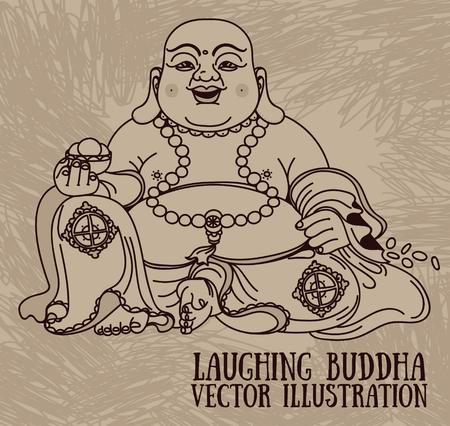 Illustration of the laughing Buddha or budai Illustration