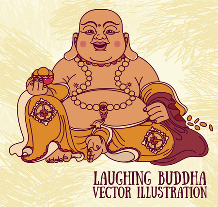 Illustration of the laughing Buddha.