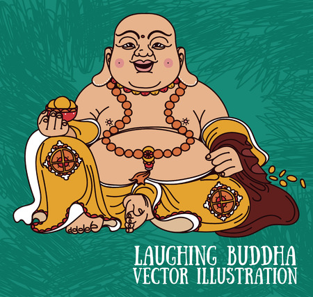 Laughing Buddha, traditional asian Feng Shui Budai, vector illustration