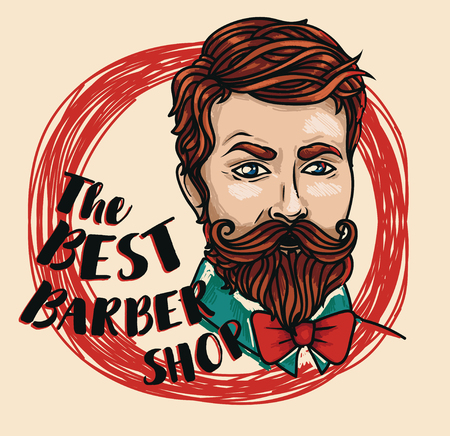 Promo poster for the best barbershop with a head of trendy man, vector illustration in sketch style