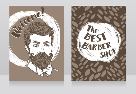 Two banners for the best barbershop with a portrait of a trendy man, vector illustration in sketch style  イラスト・ベクター素材