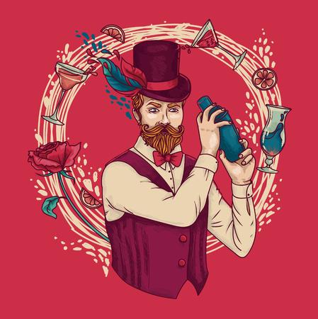Retro barman die cocktails maken, kan als affiche voor ouderwetse partij, vectorillustratie worden gebruikt