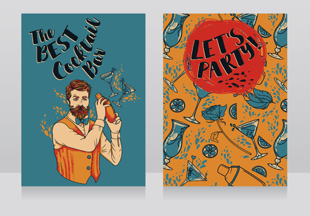 Two banners for cocktails bar with trendy bartender, can be used as party invitation, vector illustration Vetores