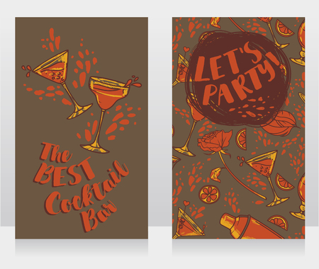 Banners for cocktails bar, can be used as party invitation, vector illustration Vectores