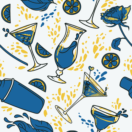 Seamless pattern with cocktails, flowers and splashes. Can be used for summer party or for bachelor party.